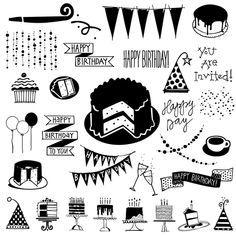 Birthday party dingbats plus a full set of numbers. Everything you need to make cards, invitations, and to scrapbook all your parties. If you need more party doodles take a look at Party Doodles or Party Doodles Too. All hand drawn. Birthday Doodle, Art Birthday, It's Your Birthday, Birthday Cards, Birthday Ideas, Zentangle Drawings, Doodle Drawings, Doodle Art, Board Game Template