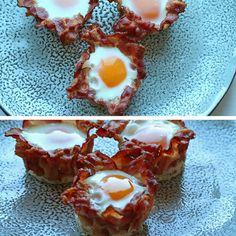 Dejlige muffins med æg, som bages færdig i en sprød skal af bacon. Jeg er kæmpe fan og laver dem ofte.