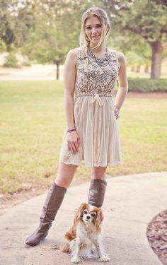 Women's Beaded and Lace Overlay Dress