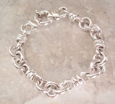 Sterling Silver Bracelet Fancy Hollow Link Italian Wide Chain 7-3/4 Inch Vintage