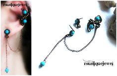 Oaak Wire Wrapped Turquoise Ear Cuff Chain Ear by rsuniquejewel, $20.00