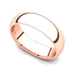 18k Rose Gold 5mm Classic Plain Comfort Fit Wedding Band Ring 9.5
