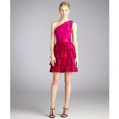 Notte by Marchesa Lipstick Tiered Silk Organza Pleated One Shoulder... ($260) ❤ liked on Polyvore