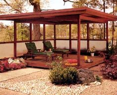Make the roof line fit in with a Japanese garden style.
