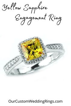 This is a 7mm princess cut yellow sapphire engagement ring in 14k white gold with a natural diamond halo. We offer a wide variety of lab-grown gemstone engagement rings along with custom design. Design Your Own Engagement Rings, Gemstone Engagement Rings, Yellow Sapphire Rings, Halo Diamond, Princess Cut, Natural Diamonds, Heart Ring, Lab, Custom Design