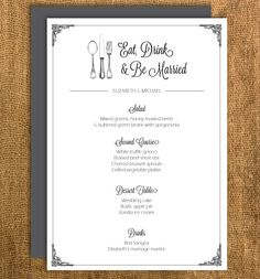 Printable vintage wedding menu (DIY!)