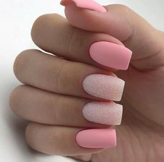 There are three kinds of fake nails which all come from the family of plastics. Acrylic nails are a liquid and powder mix. They are mixed in front of you and then they are brushed onto your nails and shaped. These nails are air dried. Classy Nails, Stylish Nails, Trendy Nails, Simple Nails, Matte Nail Art, Best Acrylic Nails, Matte Pink Nails, Pink Nail Art, Square Acrylic Nails