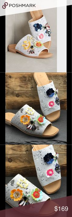 Anthropologie Bill Blass sequined slipper sandals Anthropologie slopes sandals with stunning flower appliqué by Bill Blass. An amazing pair of shoes that I could only wish were my size. If you are a size 9, oh you are lucky with these ones that can be yours. Sole leather size 9. nWT never worn. Anthropologie Shoes Slippers