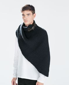 KNIT SCARF WITH FAUX LEATHER BUCKLE-Scarves and Foulards-Accessories-MAN | ZARA United States