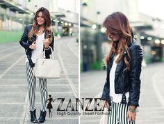 Chic Look Vertical Black Stripes Zebra Slim Leggings Tights Legwear Pants