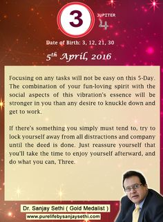 #Numerology‬ predictions for 5th April'16 by Dr.Sanjay Sethi-Gold Medalist and World's No.1 #AstroNumerologist.