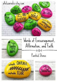 Share words of encouragement, affirmation, and faith with friends, family and coworkers! Painted Rocks Craft, Hand Painted Rocks, Rock Painting Ideas Easy, Rock Painting Designs, Stone Crafts, Rock Crafts, Inspirational Rocks, Rock Design, Kindness Rocks