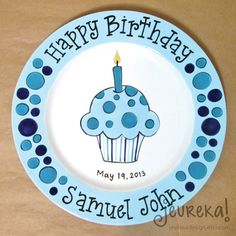 Personalized Mixed Dot Cupcake and Candle - Large Ceramic Birthday Plate Pottery Painting Designs, Paint Designs, Crafts For Teens To Make, Crafts To Make, Ceramic Painting, Painting Abstract, Plate Drawing, Libra Art, Birthday Plate