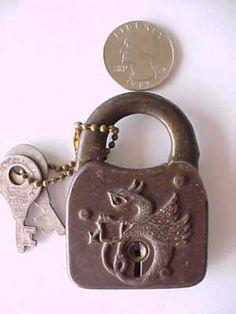Image detail for -Antique Dragon Steel Padlock Vintage Eagle Lock w/ Key