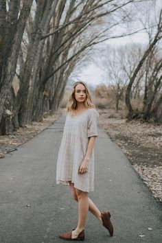 The Joni Gingham Dress in Taupe