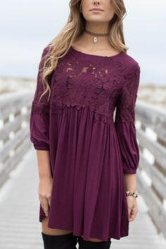 - A plum dress featuring crochet details on the bust and arms, cuffed sleeves, and no lining - Material is Rayon, Nyron, and Polyester - Model Addi is 5'6 wearing a small Bust Length Small 16 32.5 Med
