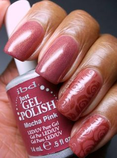 IBD Just Gel Polish Mocha Pink and Road To Paris stamped with Maybeline Brick Shimmer using MoYou XL image plate