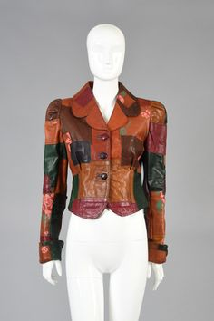 Wide-leg Leather pants with Gandalf the Wizard Floral Patchwork Leather Jacket