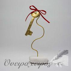 """Δώρο εγκαινίων, Χειροποίητο Διακοσμητικό από ορείχαλκο σε σύρμα """"Κλειδί"""""""