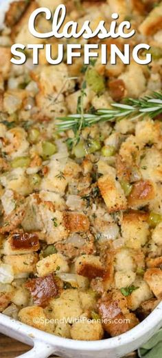 moist and delicious stuffing recipe is my favorite dish to make for Thanksgiving dinner! It is the ultimate side dish! This moist and delicious stuffing recipe is my favorite dish to make for Thanksgiving dinner! It is the ultimate side dish! Classic Stuffing Recipe, Easy Stuffing Recipe, Best Stuffing, Classic Recipe, Baked Stuffing, Crockpot Stuffing, Homemade Stuffing For Turkey, Stuffing For Chicken, Bread Stuffing For Turkey