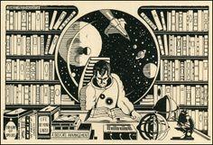 A Space Library by Lance Miyamoto, 1981