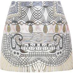 Mary Katrantzou Jacquard A-line skirt (1 130 AUD) ❤ liked on Polyvore featuring skirts, mini skirts, bottoms, saias, mary katrantzou, cream, metallic mini skirt, a line skirt, white a line skirt and multicolor skirt