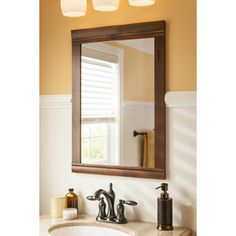 Shop allen + roth 30-in H x 22-in W Moravia Sable Bathroom Mirror at ...