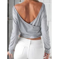 Gray Wrap Backless Long Sleeve Crop T-shirt (€21) ❤ liked on Polyvore featuring tops, t-shirts, crop t shirt, gray crop top, long sleeve tee, grey t shirt and long sleeve cotton t shirts