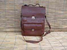Vintage 1960's  Brown Leather Bag Satchel by AllTheVintage on Etsy