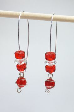 Red and Clear Glass Beads on Long SilverPlated Earwires by tzteja, $12.00  #jewelry, #earrings, #beaded, #designsbytamiza, #handmade, #ooak, #glass, #red, #clear