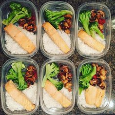 Pin for Later: 21 Simple Meal Prep Combinations Anyone Can Do Salmon + Mushrooms + Broccoli + Rice
