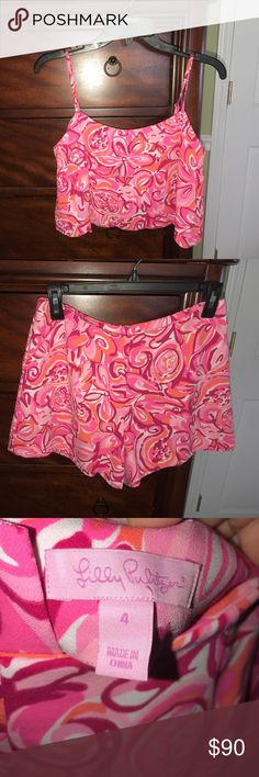 Lilly Pulitzer Two Piece Lilly Pulitzer Two Piece is amazing condition. Only been worn twice. Size 4. Top is scalloped. Perfect outfit for the summer! Lilly Pulitzer Other
