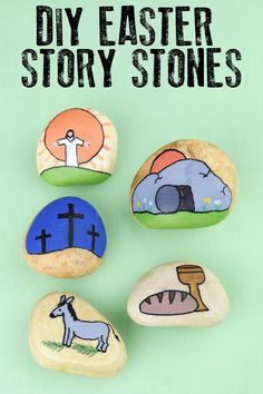 Make these easy Easter Story Stones to help teach your children about the meaning behind the Christian Celebration of Easter. Read aloud the story of Easter and then create and use these simple stones to retell the story. Skip to easters Easter Story For Kids, Easter Activities For Kids, Easter Crafts For Kids, Easter Ideas, Easter Stories, Bunny Crafts, Easter Decor, Kids Fun, Story Stones