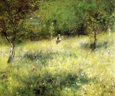 This ready to hang, gallery-wrapped art piece features a landscape of a man walking through a field into trees. Pierre Renoir was a French painter originally associated with the Impressionist movement