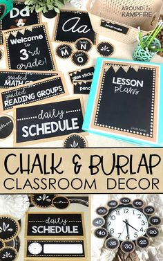 Chalkboard & Burlap Classroom Decor Create an organized and well managed classroom for any grade level with this editable burlap and . Classroom Decor Themes, Classroom Organisation, Classroom Design, Classroom Displays, Classroom Ideas, Classroom Management, Themes For Classrooms, Classroom Color Scheme, Modern Classroom