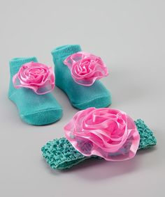Look at this #zulilyfind! Turqouise & Hot Pink Sock & Headband Set by Baby Essentials #zulilyfinds