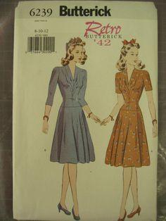 BUTTERICK RETRO 40s WAR YRS DRESS COSTUME 6239 PATTERN |