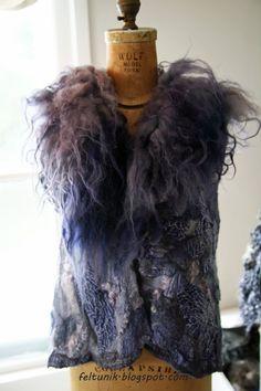 Lavender nuno felt vest with raw fleece collar. $249.00, via Etsy.