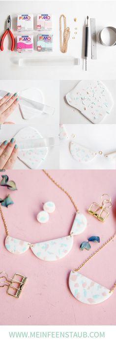 DIY terrazzo necklace made of polymer clay - Fimo DIY - Schmuck Diy Jewelry Rings, Diy Jewelry Unique, Diy Jewelry To Sell, Diy Jewelry Tutorials, Diy Jewelry Making, Clay Tutorials, Body Jewelry, Wire Jewelry, Jewellery Diy