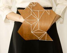Minimalist geometric wood, wedding bouquet/ wall art