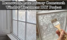 The Homestead Survival | Removable Lace Privacy Cornstarch Window Treatment DIY Project | http://thehomesteadsurvival.com