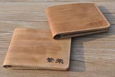 mens bifold wallet, vegetable tanned leather, personalized monogram gifts, light brown, handmade by Leathertaste LT522