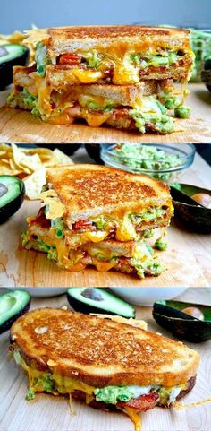 Bacon Guacamole Grilled Cheese Sandwich. #bacon #guac #grilledcheese