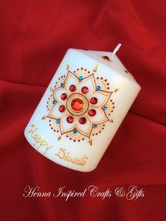 Happy Diwali, Diwali Candle, Indian Festival, Diwali Gift, Diwali Decor, Diwali Decoration, Festival of Lights, Hindu Festivals, Henna Candl by HennaCraftsbyPramila on Etsy https://www.etsy.com/ca/listing/483477291/happy-diwali-diwali-candle-indian