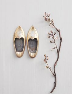 2 Vintage Brass Slipper Shoes - small personal ashtray or decor - made in India by CuriosityCabinet
