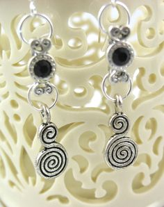 Black Swarovski drop earrings by JazzitUpwithDesigns on Etsy, $20.00