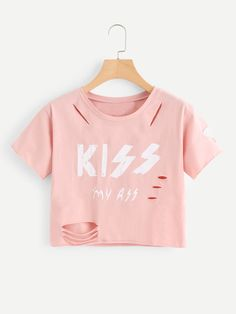 To find out about the Letter Print Raw Edge Ripped Tee at SHEIN, part of our latest T-Shirts ready to shop online today! Girls Fashion Clothes, Teen Fashion Outfits, Outfits For Teens, Trendy Outfits, Girl Outfits, Cute Outfits, Fashion Dresses, Crop Tops For Kids, Cute Crop Tops