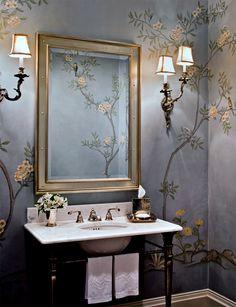 Rariden, Schumacher & Mio Interior Design Blue Floral Bathroom, wall sconces