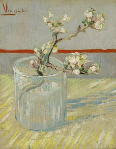Sprig of Flowering Almond in a Glass van gogh