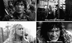 I miss him calling her princess The 100 Cast, The 100 Show, Movies Showing, Movies And Tv Shows, Bellarke Tumblr, 100 Memes, Greys Anatomy Facts, Bob Morley, Clexa